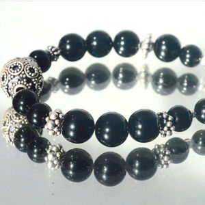 Black Onyx Sterling Silver Beaded Bracelet 925